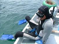 天然岩牡蠣は素潜り漁1